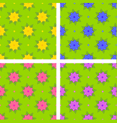 Set of seamless patterns of yellow blue pink vector