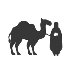 Silhouette wise man with camel icon flat vector