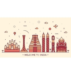 Skyline India silhouette linear vector image vector image