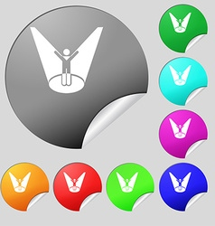 Spotlight icon sign set of eight multi colored vector