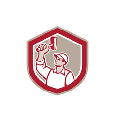 Union worker wielding hammer shield retro vector