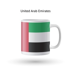 United arab emirates flag souvenir mug on white vector