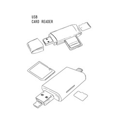 usb card reader hand draw sketch vector image vector image