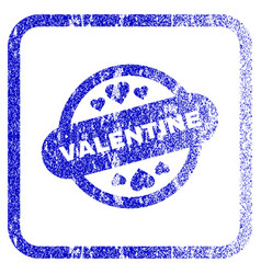 Valentine stamp seal framed textured icon vector