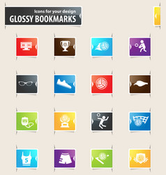 Volleyball bookmark icons vector