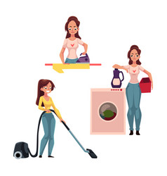 woman housewife doing chores - ironing washing vector image vector image