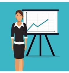 Woman office business chart presentation vector
