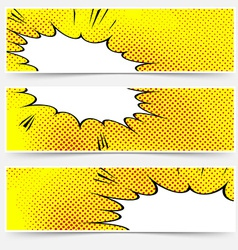 Yellow header book comic explosion banner vector