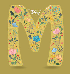 yellow letter m with floral decor and necklace vector image vector image