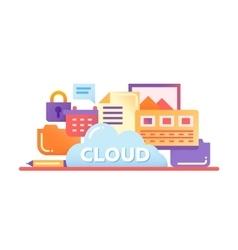 Cloud storage technology - flat design website vector