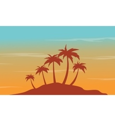 At afternoon seaside palm scenery silhouettes vector