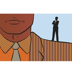 Businessman on shoulder of giant vector image