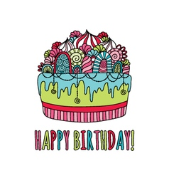 Birthday cake hand drawn doodle bright vector
