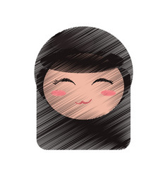 drawing cute face kokeshi vector image