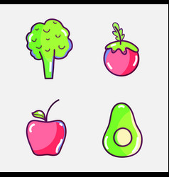 Delicious and healthy fruits and broccoli fresh vector