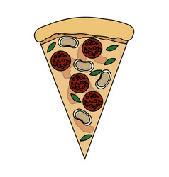 Color image cartoon slice pizza with sausage and vector