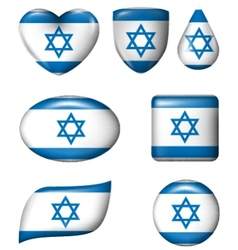 Israel flag in various shape glossy button vector image