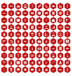 100 war crimes icons hexagon red vector