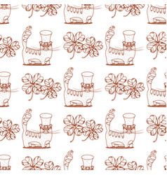 Seamless pattern with cat and clover vector
