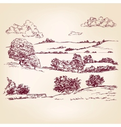 Landscape sketch drawing vector