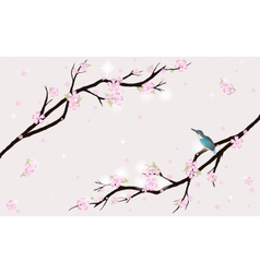 Card with stylized cherry blossom and a bird vector