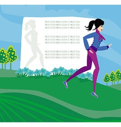 Jogging girl abstract frame with space for text vector