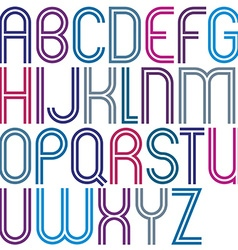 Rounded big jolly parallel cartoon uppercase vector