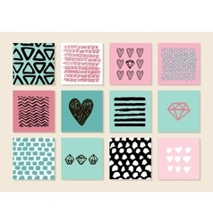 Set of 12 creative art cards hand drawn textures vector