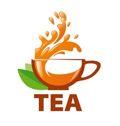 Logo splashes in a cup of tea vector