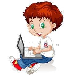 Little boy working on laptop computer vector