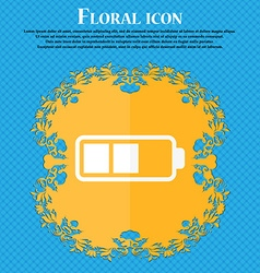 Battery half icon floral flat design on a blue vector