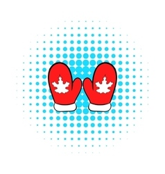 Red mittens with a maple leaf icon vector