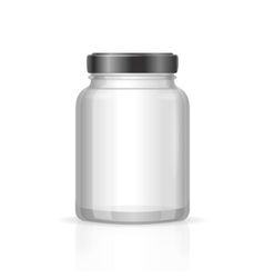 Glass jars bottles empty transparent vector