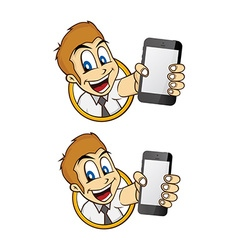 Happy guy smile cartoon with handphone vector
