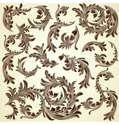 Set of vintage calligraphic floral branches vector