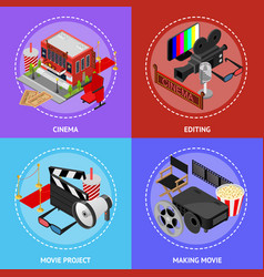 cinema movie film poster card set isometric view vector image