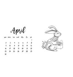 Desk calendar template for month April vector image