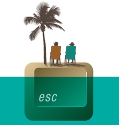 Escape palm tree couple vector