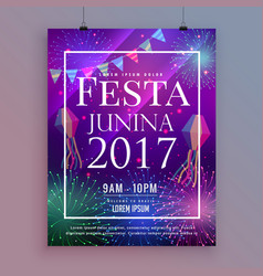 festa junina party celebration flyer design with vector image vector image