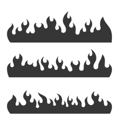 Fire Burning Flames Set on a White Background vector image vector image