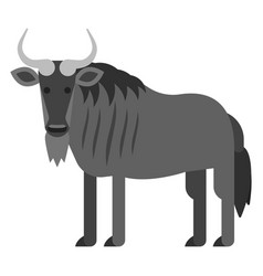 flat style of black wildebeest vector image vector image