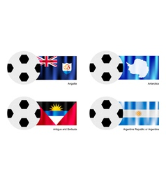 Football with anguilla antarctica antigua flag vector