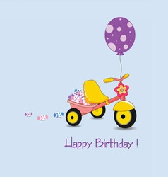 happy birthday on with candy and balloon vector image vector image
