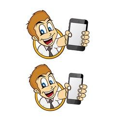 Happy guy smile cartoon with handphone vector