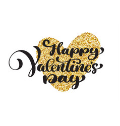 happy valentines day hand drawing lettering vector image vector image
