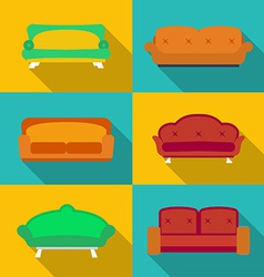 Icon set of Sofas Modern flat style with a long vector image vector image