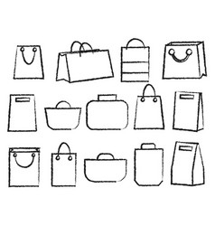 Icon set of various bags baggage theme vector