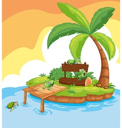 Island scene with frogs and signs vector