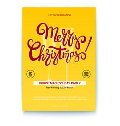 merry christmas template of greetings poster with vector image vector image