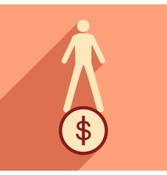 Modern flat icon with shadow coin and people vector image vector image